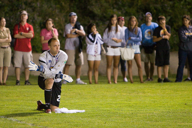 Matt Nelson waits and watches as his counterpart tends goal for Harrisburg in the penalty shoot-out