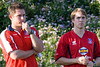 Co-Managers Pete Medd and Jim Cherneski show concern at the prospect of playing a man down for the rest of the match