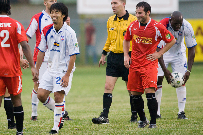 Shintaro Harada shares a laugh with the Pioneers' Jeff Deren
