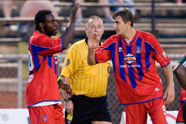 Goalscorers Gary Brooks and Pat Healey