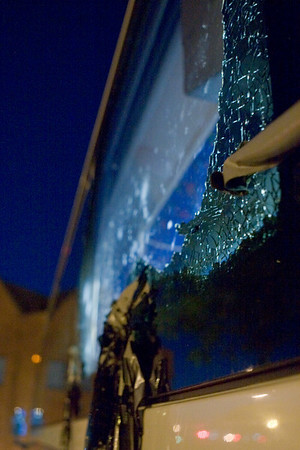 After the game, a rock was thrown at the Palace bus just as it was pulling away from the stadium, smashing a window.  Though an attempt was made to tape the shattered pane, it fell out about half way through the six hour ride home.  Luckily, the bus windows have two layers of glass, and the inner sheet was unscathed after the incident.