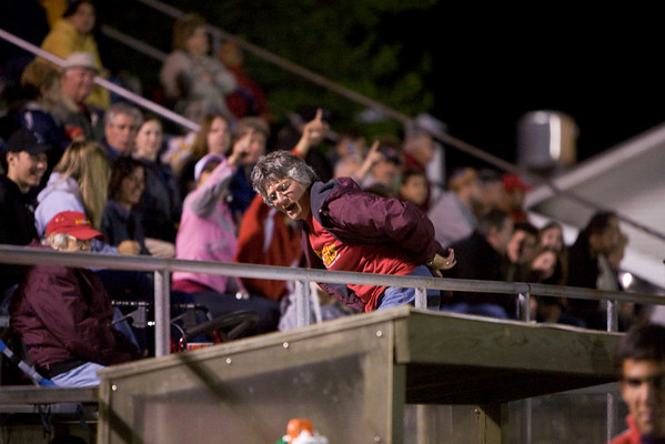 Pioneers fan showing her opinion of the goal