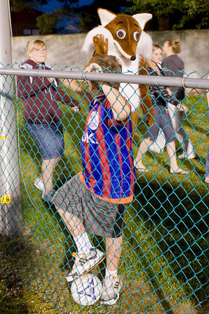 "Palace supporter stalked by ""Foxy"" the Western Mass mascot"