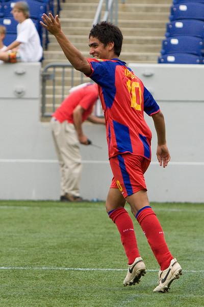 Harold Urquijo celebrates after scoring Palace's second