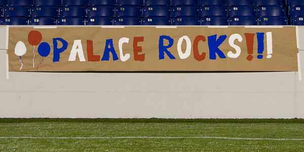 """Palace Rocks!!!"" banner made by the Kemp family"