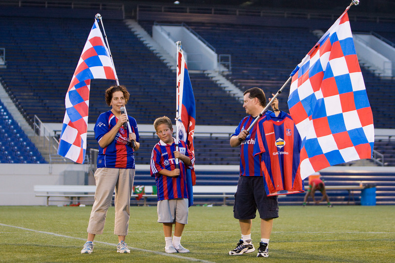 Joe Kemp, accompanied by his family, is presented with Charlie Sheringham's jersey, in recognition of his loyal and vocal support of Crystal Palace Baltimore during its inaugural season