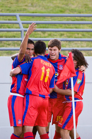 Harold Urquijo, Sergio Flores, Charlie Sheringham, Bryan Harkin (and an obscured Mathew Mbuta) celebrate Palace Baltimore's inaugural home goal.