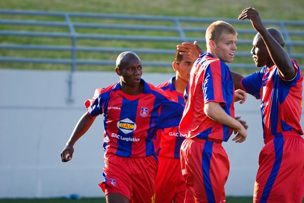 Mathew Mbuta celebrating with Josh Alcala, Andrew Marshall and Ibrahim Kante.