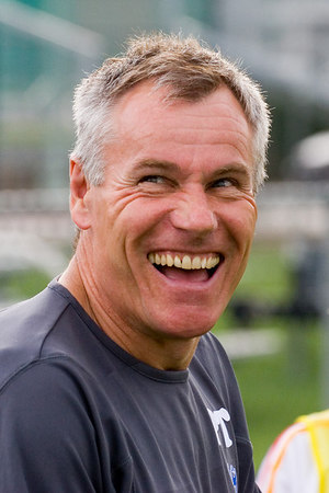 Palace's new manager, Peter Taylor, enjoying a joke before the game.