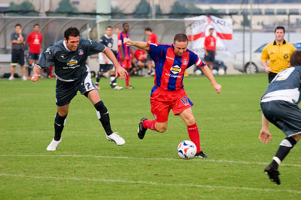 Michael Hughes sets up for the left-footed shot.