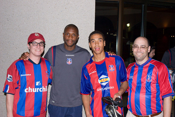 Emmerson Boyce and Lewwis Spence flanked by Michael Phillips and Paul Crystal (yes, that's really his surname!), friends of yours truly from Washington DC who kindly (and foolishly?) allowed me to brainwash them into supporting Palace several years ago.