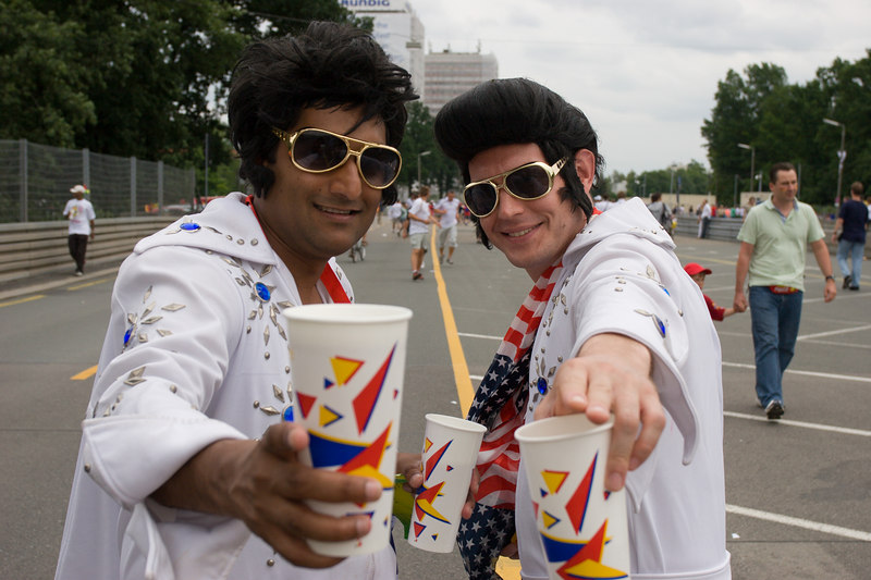 A couple of Elvises pose at Nürnberg stadium before the Ghana USA game.  edit