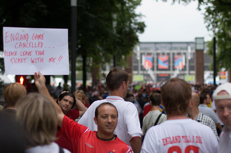 """England game cancelled... please leave your ticket with me!!"" Creative advertising by an England fan trying to get a ticket for England vs. Sweden at the stadium in Köln.  The BBC liked this pic  (click image 10 on <a href=""http://news.bbc.co.uk/2/hi/5104360.stm?ls"" target=""_blank"">this link</a>)"