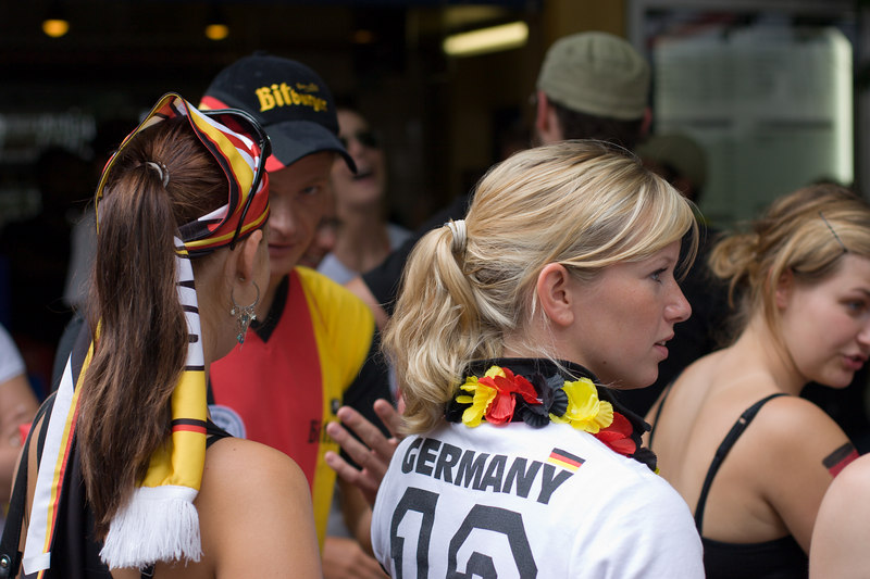 "Germany fans gather in the Stadtgarten in Köln to watch television coverage of Germany vs. Ecuador, not far from Yvonne and Erwin's apartment in <a href=""http://de.wikipedia.org/wiki/K%C3%B6ln-Ehrenfeld_(Stadtteil)"" target=""blank"">Ehrenfeld</a>."