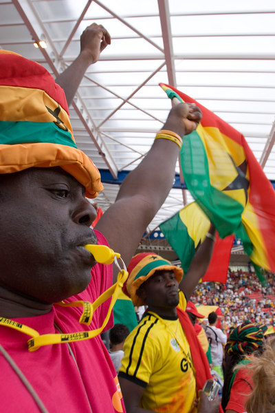 Ghana fans celebrate a famous victory over the USA.