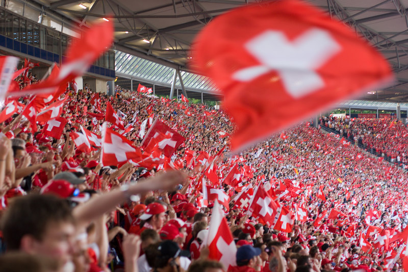 The Swiss fans were surprisingly vociferous and nationalistic (considering their neutral reputation).