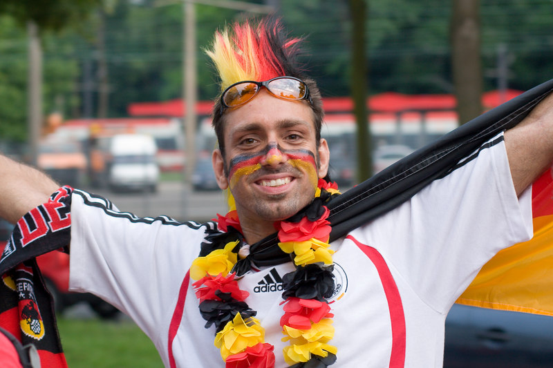 Chuffed Germany fan heading into Köln's stadium to watch England vs. Sweden.