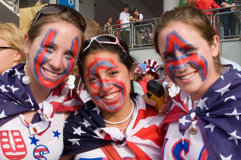 USA fans at Nürnberg stadium still smiling despite the defeat by Ghana.