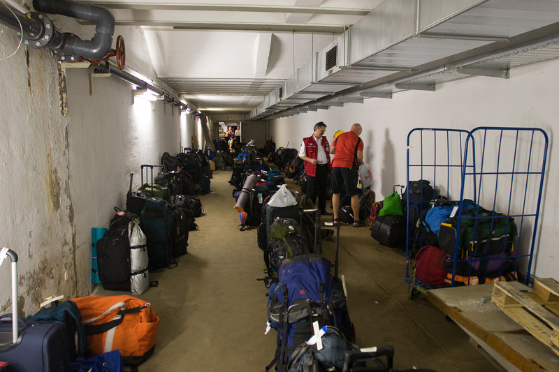 Retrieving bags in the long corridors of the makeshift luggage check at Nürnberg train station after the USA Ghana match.