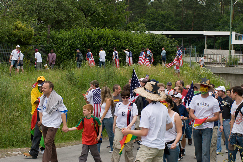 Before the Ghana game in Nürnberg, USA fans honour the stars and stripes by turning a hedge next to the stadium tram station into an impromptu toilet.