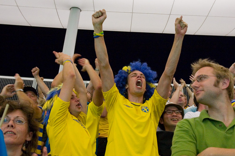 """Yesssssssssssss!!!"" (Or the Swedish equivalent...) Sweden scores the only goal of the game in the 89th minute."
