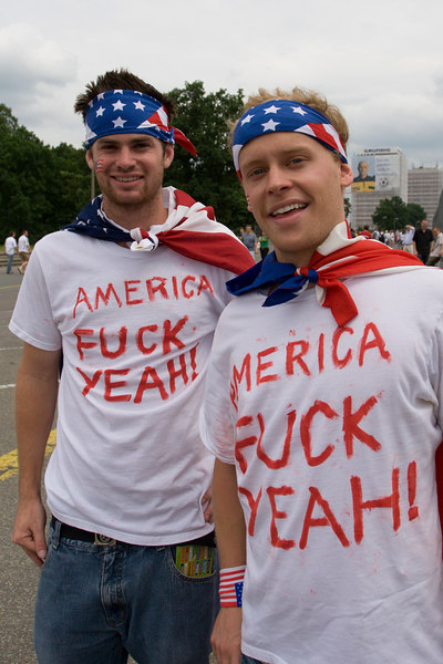 "USA fans at Nürnberg stadium before the Gahan game - these two were told to turn their ""Team America"" shirts inside-out before they would be allowed into the stadium."