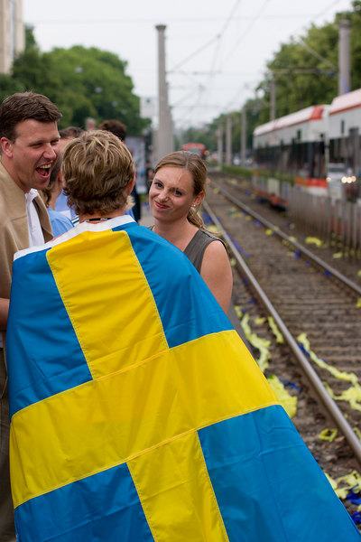 Sweden fan waiting for the tram to the stadium to see them take on England.