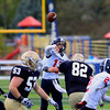 Record-Eagle/Jan-Michael Stump<br /> Boyne City's Cory Redman (16) throws a touchdown pass in the fourth quarter of Saturday's win at Traverse City St. Francis.