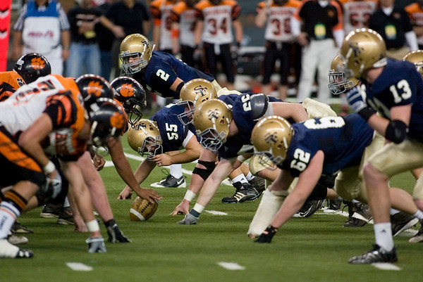 Record-Eagle/Jan-Michael Stump<br /> Traverse City St. Francis' defense lines up against Hudson in Saturday's state final in Detroit.