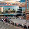 Record-Eagle/Jan-Michael Stump<br /> Fans line up outside Ford Field for Saturday's state final game between Traverse City St. Francis and Hudson in Detroit.
