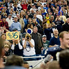 Record-Eagle/Jan-Michael Stump<br /> Traverse City St. Francis fans watch the Gladiators celebrate their state championship after defeating Hudson 42-8 at Ford Field in Detroit.