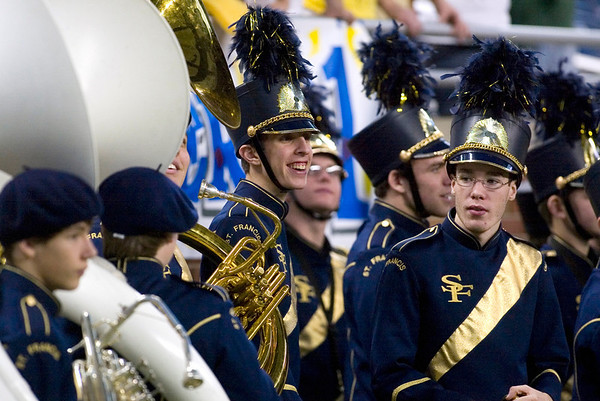Record-Eagle/Jan-Michael Stump<br /> Traverse City St. Francis band members wait to perform their halftime show during Saturday's Saturday's state final game against Hudson in Detroit.