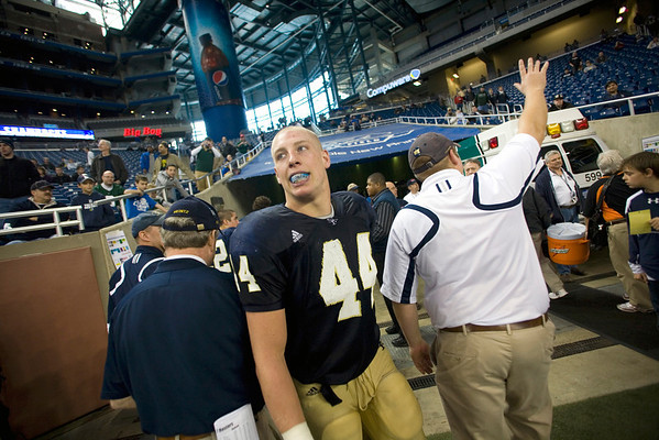 Record-Eagle/Jan-Michael Stump<br /> Traverse City St. Francis senior Max Bullough takes a last look at Ford Field after the Gladiator's 42-8 win over Hudson in Saturday's state final in Detroit.