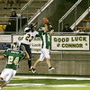 Record-Eagle/ Keith King<br /> Traverse City West's Jesse Schwartz catches an interception in front of Gaylord's Tommy Lancaster Friday, September 24, 2010 at Thirlby Field.