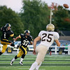 Record-Eagle/Keith King<br /> Traverse City Central's Jake Gorter kicks the ball near teammate Nick Bonaccini Friday, September 23, 2011 at Thirlby Field in Traverse City.