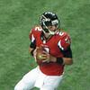 Atlanta Falcons QB Matt Ryan drops back for a pass.