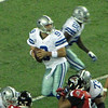 Dallas Cowboys QB Tony Romo drops back for a pass. Cowboys at Atlanta Falcons, November, 2012.