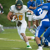 Fitchburg State Senior WR Taylor Ekstrom moves upfield in the 1st quarter at Becker. The Falcons hung on to win 27-20. SENTINEL&ENTERPRISE/ Jim Marabello