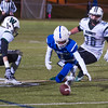 Leominster's Allen Link pouncres on the ball he fumbled after a reception. SENTINEL&ENTERPRISE/ Jim Marabello