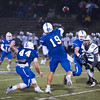 Leominster QB Noah Gray lets go with a pass into the flat towards Jack Young while getting pressure from Wachusett's  Jon Rubin.  SENTINEL&ENTERPRISE/ Jim Marabello