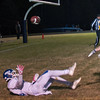 Lunenburg's Benjamin Cumming is unable to get a hand on a pass from QB Christopher Costich during the Thanksgiving Eve loss at Quabbin 52-50. However Quabbin's Travis Lanpher was called for pass interference.  SENTINEL & ENTERPRISE / Jim Marabello