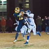 Quabbin's Collin Sweeney catches a pass across the middle to set up the game winning touchdown in their 52-50 win over Lunenburg on Thanksgiving Eve. SENTINEL & ENTERPRISE / Jim Marabello