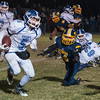 Luneburg's Kendall Drinkwater moves past Quabbin defenders for a touchdown late in the 4th quarter that put the Blue Knights up 50-44. However, Quabbin scored again to win 52-50. SENTINEL & ENTERPRISE / Jim Marabello