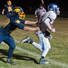 Luneburg's Kendall Drinkwater moves into the end zone past Quabbin defenders for a touchdown late in the 4th quarter that put the Blue Knights up 50-44. However, Quabbin scored again to win 52-50. SENTINEL & ENTERPRISE / Jim Marabello
