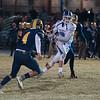 Lunenburg's Kyle Crowle ctaches a pass over the middle late in the game against Quabbin. SENTINEL & ENTERPRISE / Jim Marabello