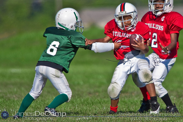 The Mini Stallions take on the Mini Jets in regular season play of the Groveport Madison Youth Association (GMYA) football photographed Saturday Morning September 19, 2009. (Photo by James D. DeCamp 614-367-6366)  http://www.JamesDeCamp.com