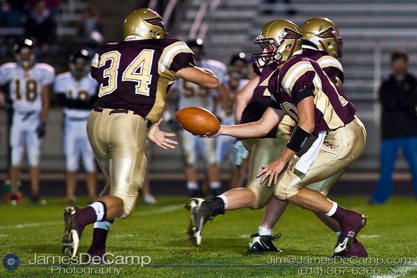 New Albany High School's # runs the ball against the Watkins Memorial High School's defense during the first period of play at New Albany High School Friday night September 25, 2009. (Photo by James D. DeCamp 614-367-6366)  http://www.JamesDeCamp.com