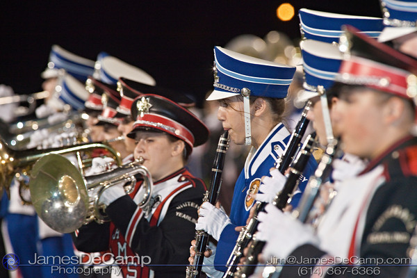 Bexley High School's and Whitehall Yearling High School's combined Marching Bands playing during the halftime show at Bexley High School Thursday night September 16, 2010.  On clarinet - Bexley's Nan Blyle.  (©2010 James D. DeCamp) http://www.JamesDeCamp.com