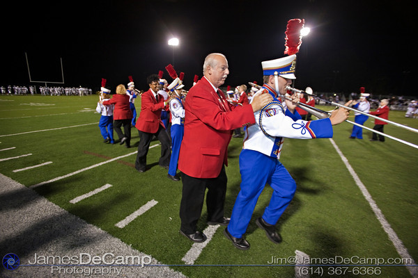 Ohio State School for the Blind Band Member Sam Shepard and his guide Chuck Penrod, left, march during their halftime show at Bexley High School Thursday night September 16, 2010. This was the first performance of the season for the band that has earned national attention.  (©2010 James D. DeCamp) http://www.JamesDeCamp.com