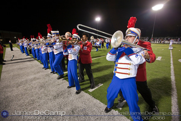 Ohio State School for the Blind Band Member Sam Shepard and his guide Chuck Penrod, rear, march during their halftime show at Bexley High School Thursday night September 16, 2010. This was the first performance of the season for the band that has earned national attention.  (©2010 James D. DeCamp) http://www.JamesDeCamp.com